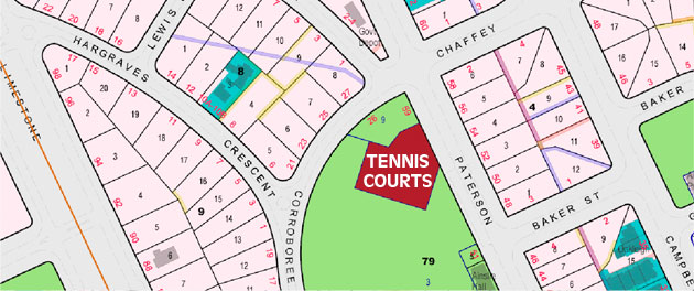 Ainslie Tennis Club location map