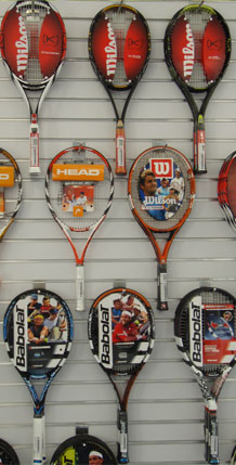 Racquets on wall